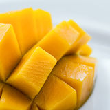 Mango diced on the skin closeup square composition Royalty Free Stock Photos