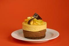 Mango e mousse del chocolat Immagine Stock Libera da Diritti