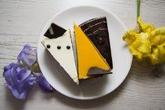 Mango e primo piano deliziosi delle torte di formaggio di choco Immagini Stock Libere da Diritti