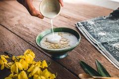 Mango en Kleverige Rijst royalty-vrije stock afbeeldingen
