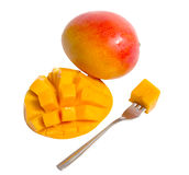 Mango  with fork Royalty Free Stock Photography