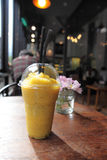 Mango frappe juice. In close up stock photos