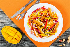 Mango, fried chicken breast cutting in strips,  peanuts, pepper Royalty Free Stock Photos