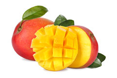 Mango fruit. Mango with section isolated on a white background Royalty Free Stock Photos