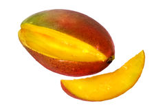 Mango fruit. Fresh ripe mango fruit isolated on white Royalty Free Stock Photography
