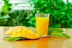 Mango fruit with Mango juice. Fresh mango juice and mango fruit with green leaf background Royalty Free Stock Photography