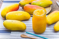 Mango fruit , mango smoothies beverage fruit mango. On summer Royalty Free Stock Photography