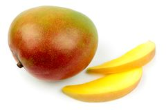 Mango fruit and slices Royalty Free Stock Photo