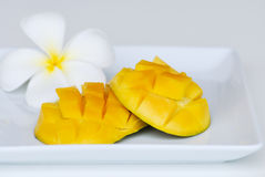 Mango fruit on white plate on white Stock Photos