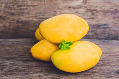 Mango fruit on the wooden table. Royalty Free Stock Photography