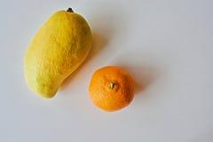 Mango giallo e mandarino arancio Fotografie Stock Libere da Diritti