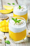 Mango Greek yogurt Chia seeds pudding with cashews Stock Photos