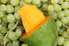 Mango with green grape Royalty Free Stock Image