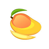 Mango with green leaf and slice. Isolated object on a white background. Cartoon icon. Vector illustration royalty free illustration