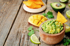 Mango guacamole with corn chips Royalty Free Stock Photography