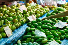Mango, guava, fruits, fresh food in Thailand`s market. Royalty Free Stock Images