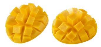 Mango half cut double 1 isolated on white background Stock Images