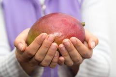 Mango i hand arkivfoto