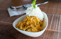Mango ice cream with cereal Royalty Free Stock Photos