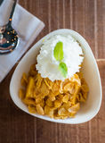 Mango ice cream with cereal Stock Photography