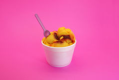Mango ice cream with chili stock photo