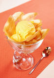 Mango ice cream in a glass Stock Photos