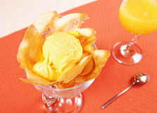 Mango ice cream and juice Royalty Free Stock Images
