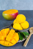 Mango ice cream sorbet with mint leaves and mango fruit in black. Stone bowl Royalty Free Stock Images