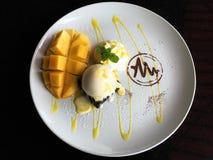 Mango and ice cream Royalty Free Stock Photography