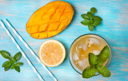 Mango ice tea with mint   (Top view ) Royalty Free Stock Images