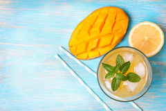 Mango ice tea with mint   (Top view ) Royalty Free Stock Photography