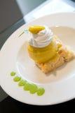 Mango icecream with cake Stock Image