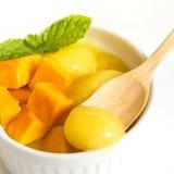 Mango icecream in a white bowl on white background. Royalty Free Stock Images