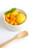 Mango icecream in a white bowl on white background. Royalty Free Stock Photography