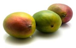 Fresh mango isolated. Mango isolated on white background three ripe Stock Image