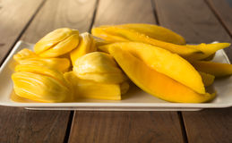 Mango and Jack-fruit on a plate Stock Photography