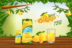 Mango Juice Advertising Banner Ads Vector Background Design. Product Concept Stock Illustration