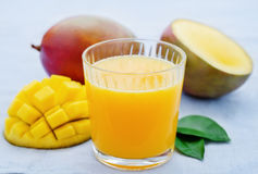 Mango juice and fresh mango Stock Photo