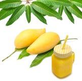 Mango juice, Fresh mango smoothie and mango fruit Stock Images