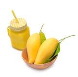 Mango juice, Fresh mango smoothie and mango fruit Stock Photos