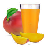 Mango juice and fruit Stock Images