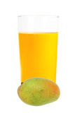 Mango juice in the glass isolated on white Stock Photo
