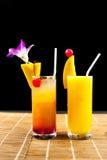 Mango juice and juice  soda with fruit on glass isolation black Stock Photo