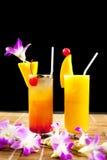 Mango juice and juice  soda with fruit on glass isolation black Stock Photography