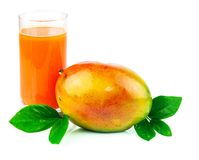 Mango juice with mango fruit Stock Images