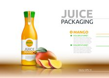 Mango juice packaging Realistic Vector mock up. Fruits juicy glass bottle advertise templates. 3d detailed element. S Stock Images