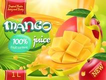 Mango juice. Sweet tropical fruits. 3d vector vector illustration
