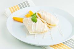 Mango-klebriger Reis-Krepps Stockfotos