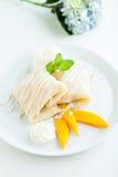 Mango-klebriger Reis-Krepps Stockfotografie