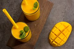 Mango Lassi  Indian Mango Drink with Yogurt Stock Photo